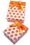 Geschenkbox Punkte orange, 2er Set