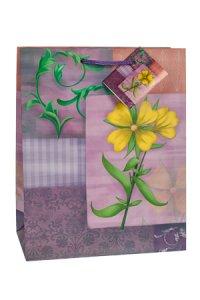 Geschenktasche Gartenblume lila, 18,5 x 10,5 x 23 cm