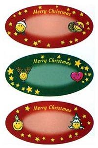 Weihnachtsetiketten Sterne und Smileys beglimmert