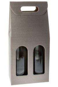 Weinflaschenkarton 2er mit Fenster grau