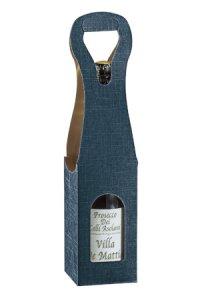 Weinflaschenkarton 1er mit Fenster blau