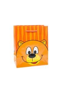 Geschenktasche Bär orange, 11 x 6 x 13,5 cm