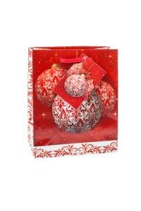 Geschenktüte Weihnachtskugel rot/weiß, 11 x 6 x 13,5 cm