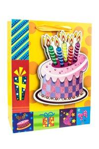Geschenktasche Geburtstagstorte, 18 x 8 x 23 cm