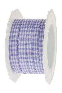 Stoffband Vichy 20 m, 10 mm lavendel/weiß