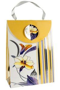 Geschenktasche Blume und Streifen, 16 x 8 x 22 cm