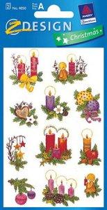 Weihnachtsaufkleber Kerzen, Kugeln und Sterne beglimmert