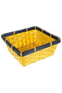 Bambusschale quadratisch gelb/blau