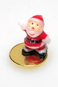 Vergoldeter Cent zum Aufkleben Weihnachtsmann
