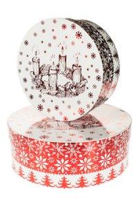 Geschenkboxen Adventskranz rund - 2er Set