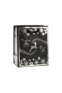 Geschenktasche Frohes Fest schwarz/silber, 11 x 6 x 13,5 cm