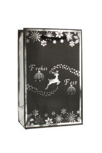 Geschenktüte Frohes Fest schwarz/silber, 12 x 6 x 19 cm