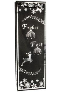 Flaschentasche Frohes Fest schwarz/silber, 12 x 10 x 35 cm
