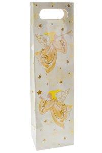 Flaschentasche Engel creme/gold, 11,5 x 8,5 x 42 cm