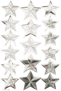 Schmucketiketten Silberne Sterne