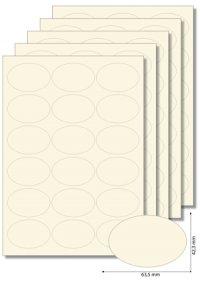 Etiketten oval Creme -   5 Blatt A4