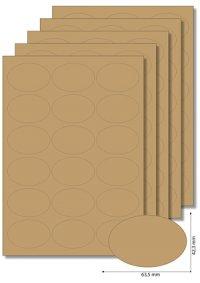 Etiketten oval Natur -   5 Blatt A4