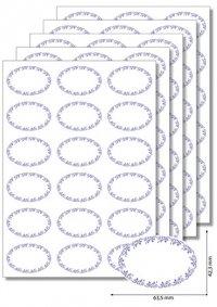 Etiketten oval Ornamente blau -   5 Blatt A4