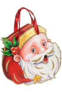 Deko-Geschenktasche Weihnachtsmannkopf, 27,5 x 8 x 28,5 cm