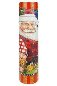 Flaschenbox Weihnachtsmann mit Zwerg rot