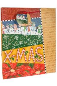Geschenktüte X-MAS mit roten Bändern, 27 x 14 x 33 cm