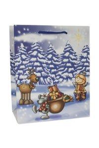 Geschenktüte Maus, Rentier und Engel, 18,5 x 10,5 x 23 cm
