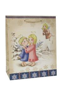 Geschenktasche Engel in Winterlandschaft, 18,5 x 10,5 x 23 cm