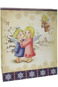 Geschenktasche Engel in Winterlandschaft, 27 x 14 x 33 cm