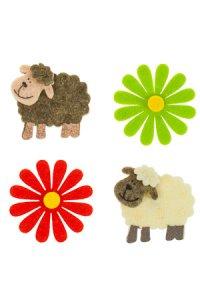 Filz-Sticker Schafe, rote und grüne Blumen - 12er Set