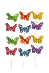 Schmetterlinge mit Drahthalter  klein - 12er Set