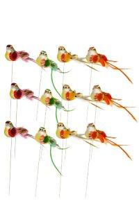 Vögelchen mit Drahthalter - 12er Set