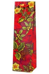 Flaschentasche Weihnachtsblumen, 10 x 10 x 35 cm