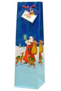 Flaschentasche Weihnachtsmann, 10 x 10 x 35 cm