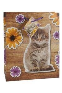 Geschenktasche Kätzchen mit Blumen mittel