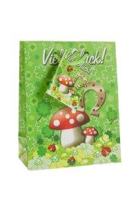 Geschenktüte Viel Glück - Wiese, 11,5 x 6 x 14,5 cm