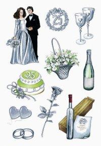 2D Sticker Hochzeit silber