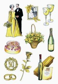 2D Sticker Hochzeit gold
