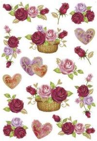 Schmucketiketten Herzen & Rosen beglimmert