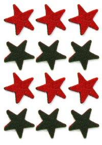 Filzsterne rot/dunkelgrün - 12er Pack