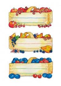 Schmucketiketten Obstkörbe