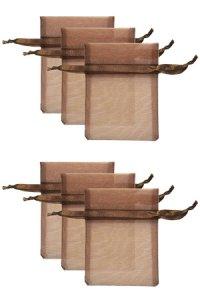 Chiffonbeutel dunkelbraun  9 x 12 cm - 6er Pack