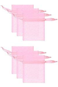 Chiffonbeutel rosa  9 x 12 cm - 6er Pack