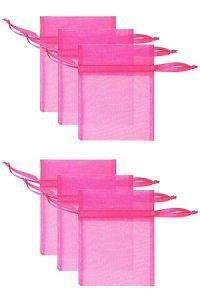 Chiffonbeutel pink  9 x 12 cm - 6er Pack