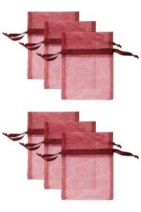 Chiffonbeutel weinrot  9 x 12 cm - 6er Pack