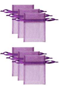 Chiffonbeutel lila  9 x 12 cm - 6er Pack