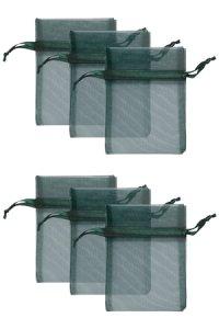 Chiffonbeutel dunkelgrün  9 x 12 cm - 6er Pack