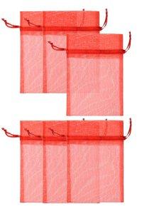 Chiffonbeutel rot 12 x 17 cm - 6er Pack