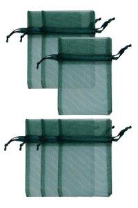 Chiffonbeutel dunkelgrün 12 x 17 cm - 6er Pack