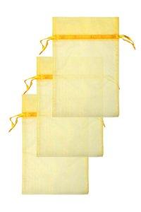 Chiffonbeutel sonnengelb 15 x 24 cm - 3er Pack