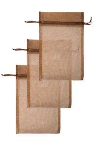 Chiffonbeutel dunkelbraun 15 x 24 cm - 3er Pack